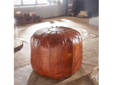 Echtleder Pouf in Cognac Braun rustikalen Landhausstil