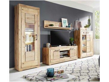 Design Wohnwand aus Wildeiche Massivholz hell sandgestrahlt und geölt (vierteilig)