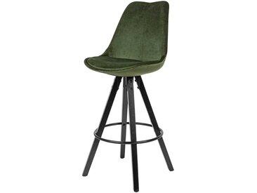 Samt Barstühle in Grün modern (2er Set)