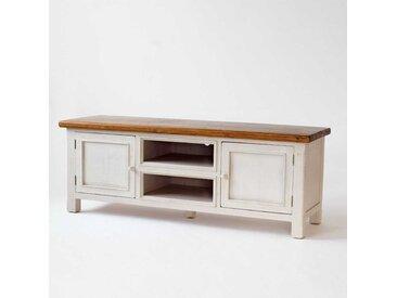 TV-Tisch in Weiß und Honigfarben Landhaus
