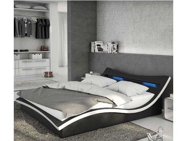Design Bett in Schwarz und Weiß Kunstleder LED Beleuchtung