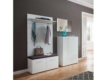 Garderobenmöbel Set in Weiß Glas beschichtet modern (4-teilig)