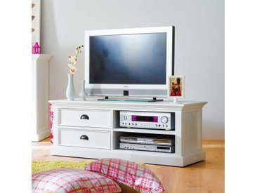 TV Unterschrank in Weiß teilmassiv Landhaus 120 cm
