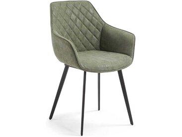 Esszimmerstühle in Grün Kunstleder mit Armlehnen (2er Set)