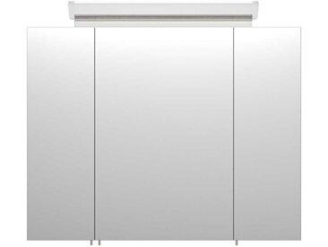 LED Spiegelschrank in Beton Grau 3-türig