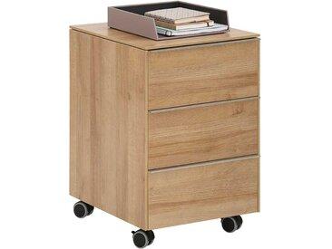 Schreibtischcontainer in Eichefarben drei Schubladen