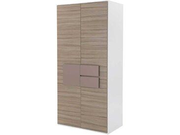 Jugendzimmer Kleiderschrank in Holz Weiß Taupe