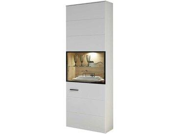 Wohnzimmer Vitrinenschrank in Weiß und Eiche Optik 60 cm breit
