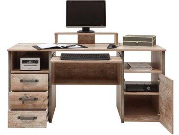 Industry PC Schreibtisch in Eiche Grau Nachbildung Seitenregalen