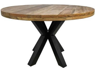 Runder Esstisch aus Mangobaum Massivholz und Metall Spider Gestell
