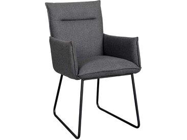 Küchenstuhl Set in dunkel Grau und Schwarz Armlehnen (2er Set)