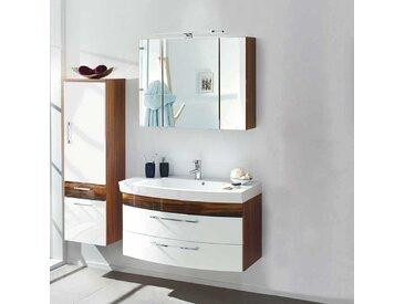 Badezimmer Kombination in Hochglanz Weiß Walnuss modern (3-teilig)