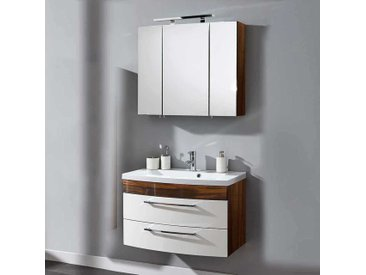 Waschtisch und Spiegelschrank in Weiß Hochglanz Walnuss (2-teilig)