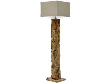 Stehlampe aus Teak Recyclingholz Webstoff in Beige