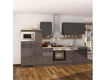 Kücheneinrichtung in Grau Hochglanz Eiche Sonoma mit Elektrogeräten (14-teilig)