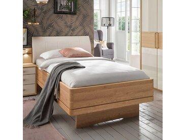 Komfortbett in Beige und Eiche teilmassiv Made in Germany