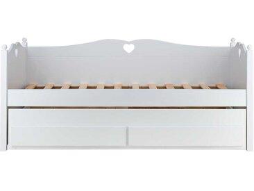 Schubladenbett in Weiß 90x200 cm