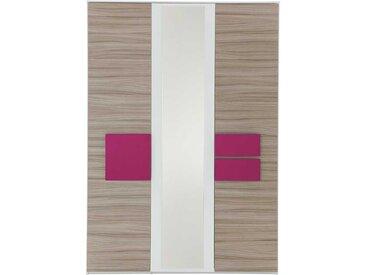 Jugendzimmerschrank in Holz Pink Spiegel