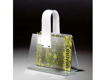 Zeitungsständer aus Acrylglas mit Griff
