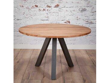Runder Esszimmertisch aus Akazie Massivholz 3-Fußgestell aus Metall
