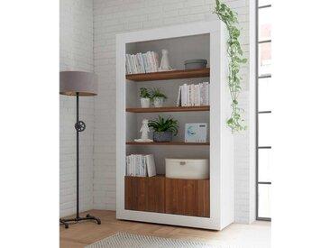 Modernes Regal in Weiß Hochglanz und Nussbaum Optik 110 cm breit