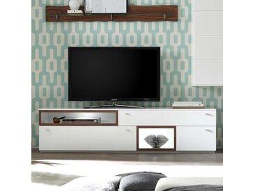 Fernsehlowboard in Weiß und Nussbaum Optik 200 cm breit