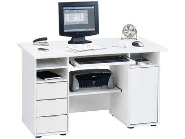 Computer Schreibtisch in Weiß mit Tastaturauszug