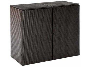 Abfalleimer Box in Braun Grau Polyrattan