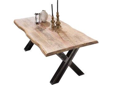 Baumkanten Tisch aus Mangobaum Massivholz und Eisen Loft Design