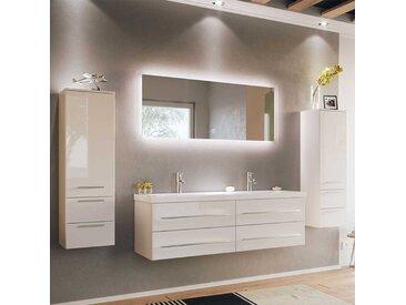 Hochglanz Badezimmerset in Weiß Doppelwaschtisch (4-teilig)