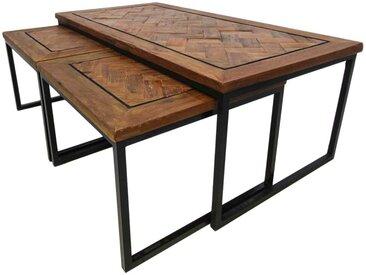 Couchtisch Set aus Recyclingholz und Eisen Loft Design (3-teilig)