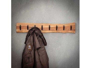 Baumkanten Hängegarderobe aus Akazie Massivholz 8 Metallhaken