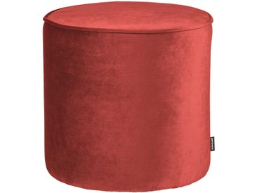 Samt Pouf in Rot Retrostil