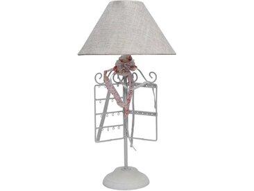 Landhaus Lampe mit Schmuckständer Weiß Grau