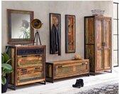 Dielenmöbel Set aus Massivholz und Metall Shabby Chic Look (sechsteilig)