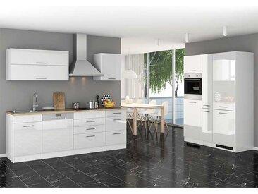 Einbauküchenzeile in Hochglanz Weiß Elektrogeräten (14-teilig)