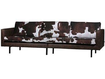 Dreisitzer Couch in Braun Recyclingleder Sitzpolstern im Kuhfell Design