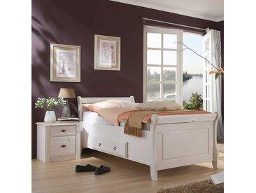 Komfortbett in Weiß Kiefer teilmassiv Nachtkommode (zweiteilig)