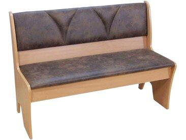 Truhen Sitzbank in Braun Stoff Buche