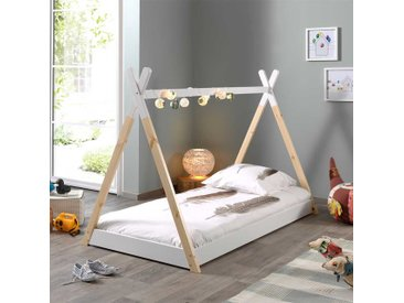 Kinderzimmer Bett im Tipi Zelt Design Weiß Kiefer massiv