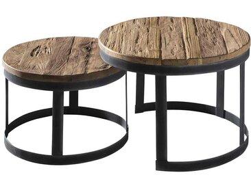 Zweisatz Tisch runde Tischform aus Teak Altholz und Metall (2-teilig)