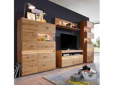 Massivholz Wohnwand aus Wildeiche gebürstet und geölt LED Beleuchtung (vierteilig)