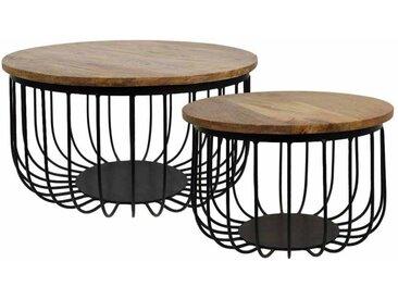 Sofatisch Set aus Mangobaum Massivholz rund Eisen (2-teilig)