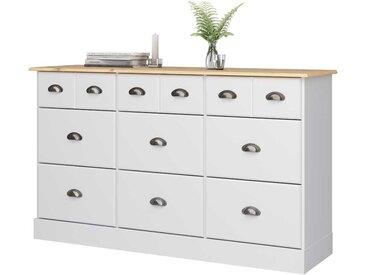 Große Kommode in Weiß und Kieferfarben neun Schubladen