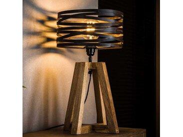 Tischlampe in Dunkelgrau und Holz Naturfarben Massivholz und Metall