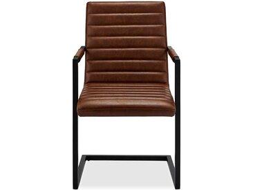 Freischwinger Stühle in Cognac Braun Kunstleder Armlehnen (2er Set)