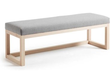 Bettbank aus Buche Massivholz Grau Stoff