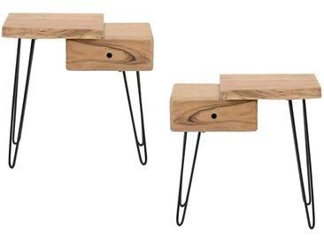 Baumkanten Tischchen aus Akazie Massivholz Metall (2er Set)