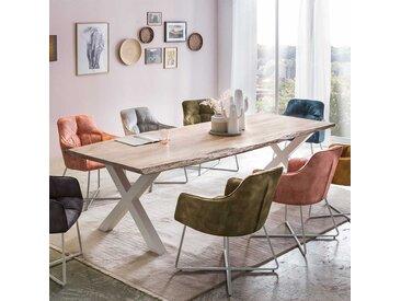 Baumkanten Tisch in Akazie White Wash massiv X-Fußgestell aus Metall