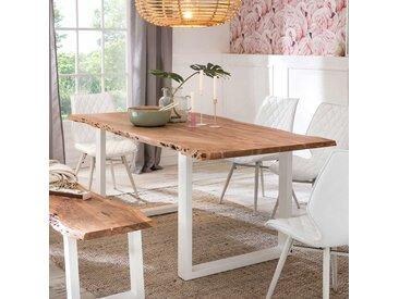 Baumkanten Esszimmertisch aus Akazie Massivholz Bügelgestell in Weiß